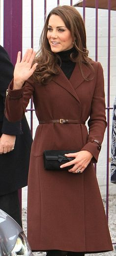 kate does it right with brown and belted with leather.......