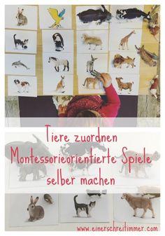 Montessori-inspirierte Spiele selber machen – Schleichtiere zuordnen