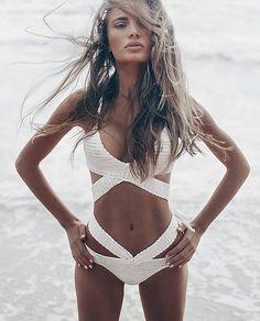 Incredible @gretabuz crazy beautiful in the wahine wrap bikini in cream , top…