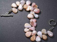 Pink Peruvian Opal Bracelet Pink Tear Drops by QuietMind on Etsy, $75.00