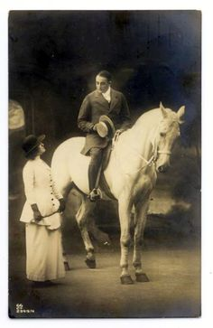 1910s. Knight on a White Horse  A commercial photo postcard.