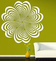 Wall Stickers Vinyl Decal Drawing Elements Flower Optical Illusion Unique Gift (n203)