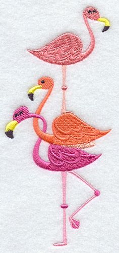 """Pretty In Pink Flamingoes StackProduct ID:E8914 Size:3.04""""(w) x 6.86""""(h) (77.2 x 174.2 mm)Color Changes:8 Stitches:10293Colors Used:8"""