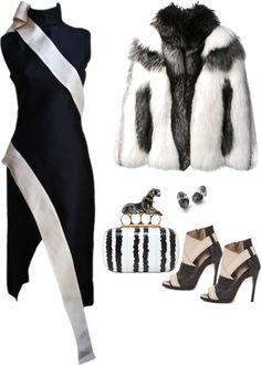 McQueen  Black Silk Gazar Dress With Cream Sash