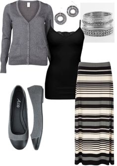 """Grey and black stripe maxi skirt"" by debra-hill on Polyvore"