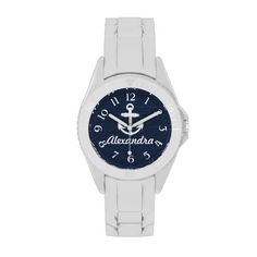 "Design Copyright © www.CuteComfy.com<font size=""5""><a href=""http://www.zazzle.com/cutencomfy/anchor+gifts"">★★ CLICK HERE to view all Matching Items  ★★</a><br></font>Add a name or text to this bright, fresh and modern nautical maritime anchor in bright white, on a dark navy blue with some plank wood-look background.  A nice gift for the sailor or boat enthusiast."