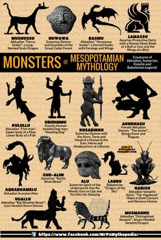 Mythological Monsters of Mesopotamia!   #MesopotamianMonsters #Monsters #Mesopotamia #Monsters #Sumerian #Akkadian #Babylonian #Kassite #Mythology #Infographic #MrPsMythopedia https://www.facebook.com/MrPsMythopedia/