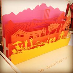 laser-cut paper art …. Cool idea for shadow box art! It would be cool to have many vignettes of the places you lived or visited!