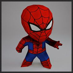 This papercraft is a chibi Spider-Man, a fictional character that appears in comic books published by Marvel Comics, the paper model is created by PaperWar
