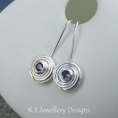 Iolite Spiral Disc Sterling Silver Earrings - Metalwork Gemstone Jewelry - Shiny Spirals - Dangly