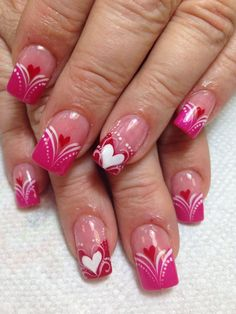 97 Wonderful Romantic Heart Nail Art Designs – The World Heart Nail Designs, Valentine's Day Nail Designs, Beautiful Nail Designs, Nails Design, Red Nail Art, Cool Nail Art, Pink Nails, Nagellack Design, Nagellack Trends