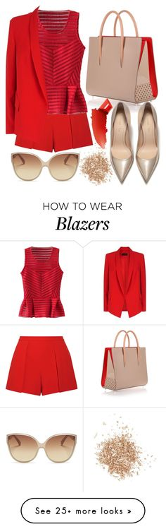 """Red peplum blouse"" by yutsu on Polyvore featuring Topshop, Alice + Olivia, WithChic, Christian Louboutin, ESCADA, Linda Farrow and By Terry"