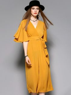 Yellow Flared Sleeve Wide Cut Legs Jumpsuit