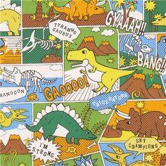 Tissu Oxford avec des dinosaures multicolores rigolos en BD de manga, par Kokka