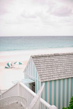 striped beach hut in bahamas Cottages By The Sea, Beach Cottages, Beach Houses, Best Honeymoon Destinations, Up House, Summer Colors, Coastal Living, Coastal Cottage, Summer Vibes