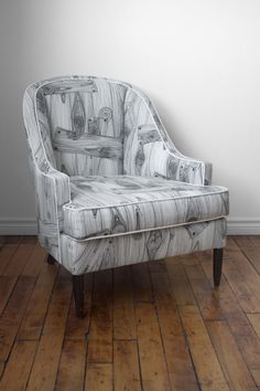 Where The Wild Things Are Vintage Reupholstered Tub Chair At End Of