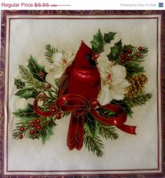 """Christmas in July SALE Cotton Fabric~ Christmas Holiday Flourish Cardinal 10"""" Quilt Block Fabric Panel ,Fast Shipping HC174"""