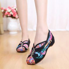 2823f83dd6c Phoenix Embroidered Old peking Vintage Flat Shoes Womens Flats