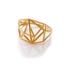 Geometric Ring Architecture Structure Gold Ring por osnatharnoy
