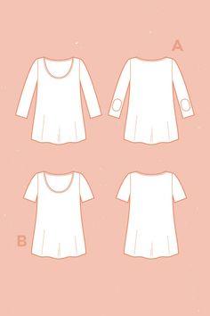 Tee-shirt PLANTAIN, Deer & Doe //  Réalisé avec les jerseys éclipse, driftwood et blanc, Amandine Cha--Les Trouvailles d'Amandine, 100% coton biologique GOTS, dessiné, tissé et teint en France.