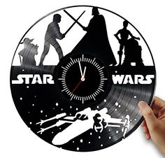 Star wars, Darth vader and Luke skywalker wall clock from vinyl record. Star wars art. Modern, minimalistic clock for your interior.