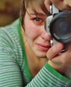 Young woman crying while taking a photo - female - people - tears - camera - character inspiration - emotions - fear - emotion - feel Story Inspiration, Writing Inspiration, Character Inspiration, Powerful Images, Animal Rights, Beautiful People, In This Moment, Poses, World