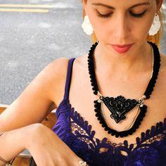 Pendant & Pompon necklace black statement necklace by MeDusaBrand, $85.00
