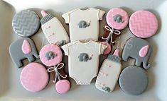 Pink & Gray Baby Elephant Chevron Cookies