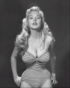 Seriously- how is that even possible?! Betty Brosmer and her amazing 18″ waist #hourglassbody