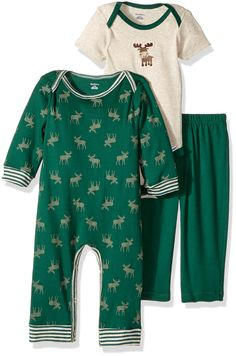 Gerber Baby Boy 3 Piece Coverall, Bodysuit, and Pant Set, moose, 24 Months