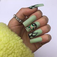Bling Acrylic Nails, Acrylic Nails Coffin Short, Best Acrylic Nails, Acrylic Nail Designs, Coffin Nails, Skull Nails, Edgy Nails, Grunge Nails, Stylish Nails