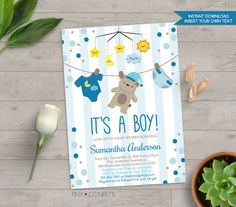 Teddy Bear Baby Shower Invitation, Baby Shower Teddy bear, bear invitation, boy baby shower, teddy bear invite, it's a boy, instant download by TinyConfetti