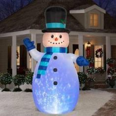 christmas decoration lawn yard inflatable kaleidoscope snowman with scarf and top hat 12 tall - Christmas Blow Up Decorations Outside