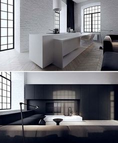 Interesting kitchen island. Like the way they've done the stepped down bar/table/dining area. Tamizo Architects.