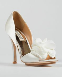 Love these shoes! Wish they were maybe an inch lower...  Randall Ruffled Bridal Sandals (Badgley Mischka)