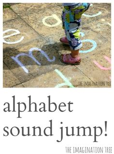Learn letters and their corresponding sounds through a fun, active, jumping game! Try with math too. Put numbers in a line and have kiddo add and subtract by jumping forward or backwards.