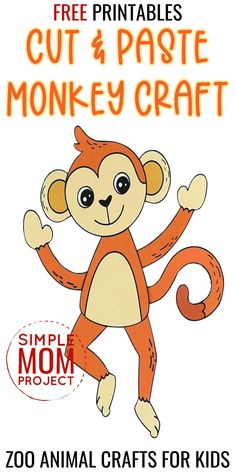 Do your little ones love zoo animals as much as mine do? Well, here's one of our favorite zoo animal crafts - a cute & free printable monkey template. If your toddlers are looking for a fun & educational home craft activity, this free printable monkey craft is the perfect idea! With full step by step instructions this monkey craft is a sure to be a winner with your toddlers, preschoolers or even big kids! Safari Animal Crafts, Jungle Crafts, Zoo Crafts, Monkey Crafts, Animal Crafts For Kids, Fun Diy Crafts, Crafts For Kids To Make, Printable Crafts, Templates Printable Free