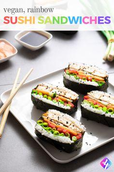 Vegan Sushi Sandwiches - How to Make Onigirazu - Delicious Plants - Trendswoman Sushi Recipes, Raw Vegan Recipes, Vegan Dinner Recipes, Vegan Foods, Vegan Snacks, Appetizer Recipes, Vegan Lunches, Veg Recipes, Asian Recipes
