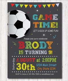 Soccer Birthday Invitation Soccer Invite Soccer Party