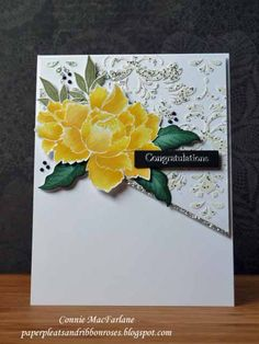 Paper Pleats and Ribbon Roses: Peony Wedding Card - Altenew - Peony Bouquet Altenew Cards, Stampin Up Cards, Wedding Anniversary Cards, Wedding Cards, Peonies Bouquet, Peony, Congratulations Card, Pretty Cards, Watercolor Cards