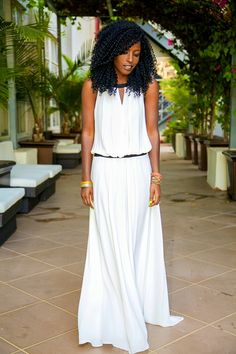 White Dropped Waist Maxi Dress - not the dress, but that HAIR tho! And accessories/styling is on fleek. White Maxi Dresses, Cute Dresses, Beautiful Dresses, Casual Dresses, Fashion Dresses, White Dress, Cute Outfits, Summer Dresses, Summer Maxi