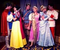 Royal couples: Snow White and Prince, Flynn and Rapunzel, Cinderella and Prince Charming. MNSS Disney world