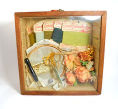 Vintage Shadowbox with Sewing Notions Collectible by Bricolageur, $45.00