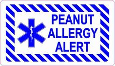 3.5inx2in Peanut Allergy Alert Sticker Vinyl Medical Emergency Decal Sign