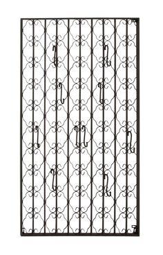 28x48 Tall Black French Scrollwork Metal Wall Hooks Hat Rack Coat Hanger Decor