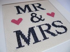Mounted Mr & Mrs Cross Stitch by EmiliesCrafts on Etsy, £15.00