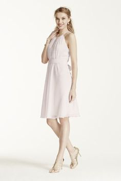 Fresh and flattering, this ultra-sweet dress is perfect for any bridal party!  Sleeveless bodice features high neckline with keyhole detailand dazzling beaded straps.  Tie elastic waist helps define and creates a flattering silhouette.  Crinkle chiffon material is flowy and chic.  Fully lined. Back zip. Imported. Dry clean only.