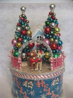 Handmade New Craft item: Christmas Collage Box with Rudolph Decorated Bottle Brush Trees . (Craft items, using vintage ornaments. Christmas Collage, Noel Christmas, Vintage Christmas Ornaments, Retro Christmas, Vintage Holiday, Christmas Tree Decorations, Christmas Bulbs, Christmas Houses, Christmas Items