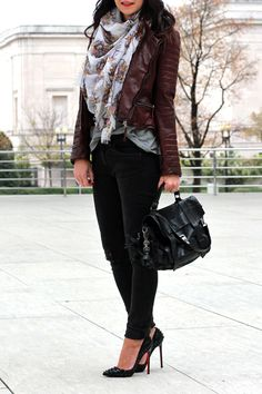 burgundy leather jacket outfit...focal point=scarf, w/ black skinnies