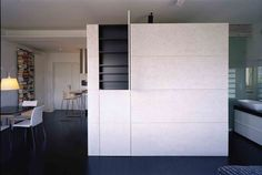 A cube inside the home apartment interior design devided all the spaces.